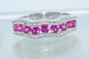 1.48  CARATS  Vivid Intense  PINK SAPPHIRE & DIAMOND RING  14k  Solid White Gold  $ 700.