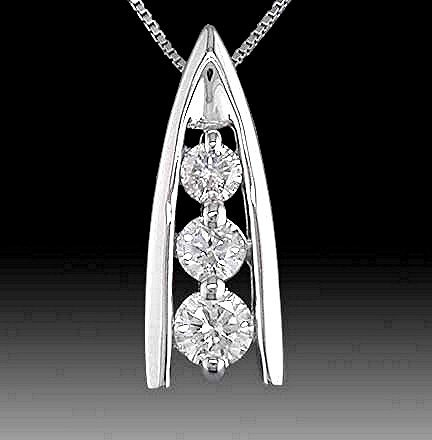 SHOWCASE  3  STONE CUSTOM DESIGN DIAMOND PENDANT  Superior  .25 Carats,  14k   Solid White Gold with Necklace * Certified G.I.A..  Complete Boxed Set  $ 390.