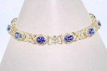 $ 8500. TANZANITE & DIAMOND 3 CARATS   18k Yellow  Gold Bracelet