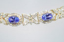 $ 8500. TANZANITE & DIAMOND 3 CARATS   18k Yellow  Gold Bracelet