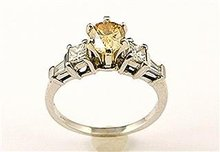 Fancy Yellow Diamond  Pear Cut  Ring, 14k  White Gold, Certified,  on Reserve Open $ 1790.