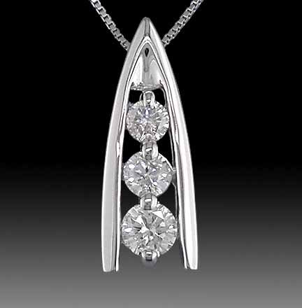 WHITE DIAMOND PENDANT  1.00  Carat    14k  White Gold Pendant