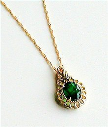 EMERALD  1.75 Carat Colombian 14k Gold Fligree Pendant,  14k  Italian Necklace complete