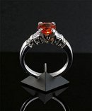 Genunine Sri Lanka Padaparadscha Sapphire  1.60  Carats,  exceedingly Rare Round Cut !   14k   White Gold Custom Diamond Setting  *  G.I.A.