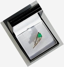 Emerald  2.25 carat  Custom Trillion Cut Masterpiece.  Diamond Pin  14k Yellow Gold *  Certified