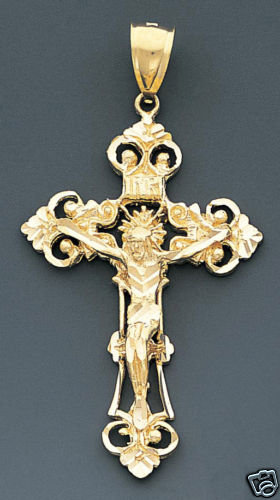 14k  Crucifix Cross Icon,  Solid Gold