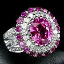 HOT PINK SAPPHIRE & RUBY  w White Sapphires,   Fashsion Ring
