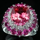 BLAZZING ! ORANGE PINK  FANCY  SAPPHIRE  Padparadscha Color &  Genuine Ruby  Setting,  Fashion Ring