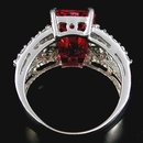 HOT PINK SAPPHIRE   Large  Emerald Cut  w  White Sapphires,    Fashion Ring