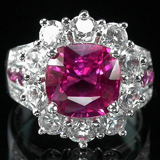 Hot Pink !  Natural Brazilian Tourmaline & Ruby w  White Sapphires,  Fashion Ring