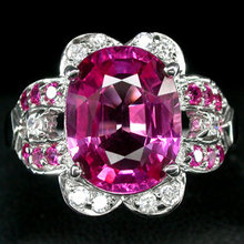 AAA Pink Rare Grande Regionally Mined,  Brazil Tourmaline w Rubies !  Diamond Cut  White Sapphires,   Fashion Ring
