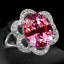 Stunning AAA Pink Orange Sapphire, Gorgeous White Sapphire  Fashion Ring