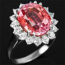 Magnificent  Pink Orange  Brilliant Color !  Oval Cut  Sapphire,  Fashion Ring