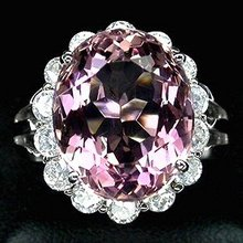 PINK MORGANITE,  Rare Natural  18  Carat  Rosa Pink  w White Sapphire surround,   Fashion Ring