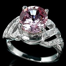 Natural Deep Pink  Morganite  3.42  Carats  w  White Sapphire  Surround,  Fashion Ring