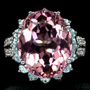 Rare Prototype  NATURAL  10  CARAT ROSE PINK  MORGANITE,  White Sapphires w  Fabulous Blue Zircon  Surround,  Fashion Ring