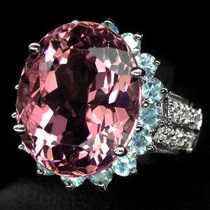 Rare Prototype  NATURAL  10  CARAT ROSE PINK  MORGANITE,  White Sapphires w  Fabulous Blue Zircon  Surround,  Fashion Ring