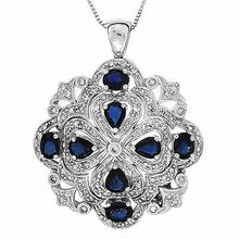2.15 Carats  White Diamonds & Sapphire Pendant,  14k White Gold,  G.I.A.