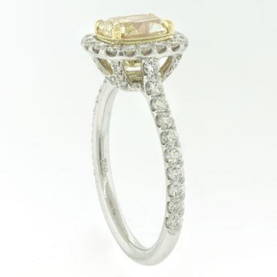FANCY YELLOW  1.10  Carat  Cushion Cut  Diamond Ring,  Platinum.  Purchase $ 5900.  * Certified