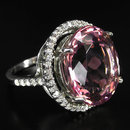 Morganite  17 Carat  Ring  w  White Sapphire Surround,  Stunning  Showpiece !