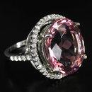 Morganite  17 Carat  Ring  w  White Sapphire Surround,  Stunning  Showpiece !