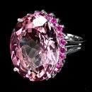 STUNNING Morganite, Natural Incrediable Rosa Pink  w  NATURAL Ruby Gemstone surround, 15  Carats !