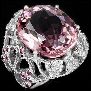 MORGANITE, PINK  18 CARATS !  Showcase Custom Filigree Setting,  Superb Jewelry  Craftsmanship !