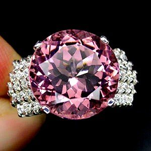 Classic  AAA Diamond Cut Brilliant  Pink Morganite,   Banded  White Sapphires, Pure  925  Solid  Sterling Silver