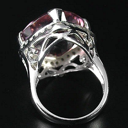 ANTIQUE CUSHION CUT  AAA  Brilliant  Pink  Rosa  Morganite  Gem,  White Sapphire  Surround,   Solid  Sterling Silver