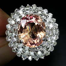 MORGANITE elussive rare  Pure Peach Color Gemstone !  on  Starburst  of  White Sapphires ... Read on