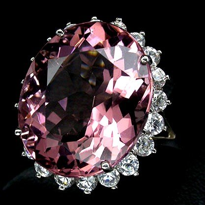 MORGANITE,   12 CARAT AAA  Brilliant  Rosa Pink Morganite Gemstone,  White Sapphire Ring