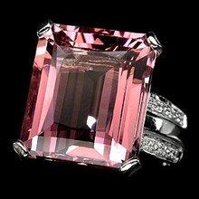 Morganite  16 Carat Emerald Cut  AAA  Color, Diamond Cut  White Sapphire Accent Band