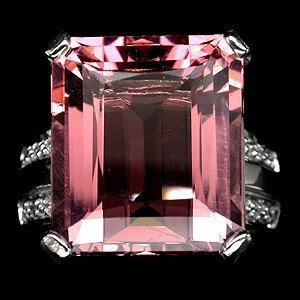 Morganite  16 Carat Emerald Cut  AAA  Color, Diamond Cut  White Sapphire Accent Band