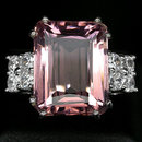 Pink Morganite, 15 Carats  AAA  Rare  Emerald Cut  Morganite Gemstone Ring