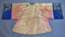 Antique Chinese Qing Dynasty Damask Silk Robe