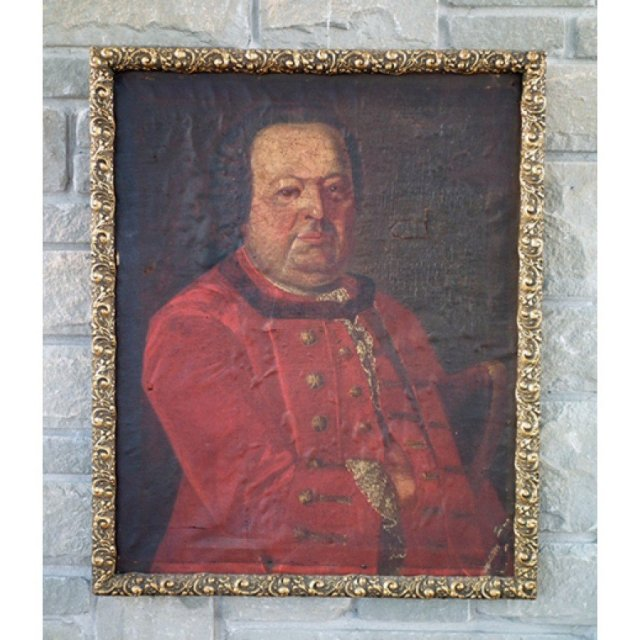 Antique Painting Polish Saxon Officer Portrait, 18th century