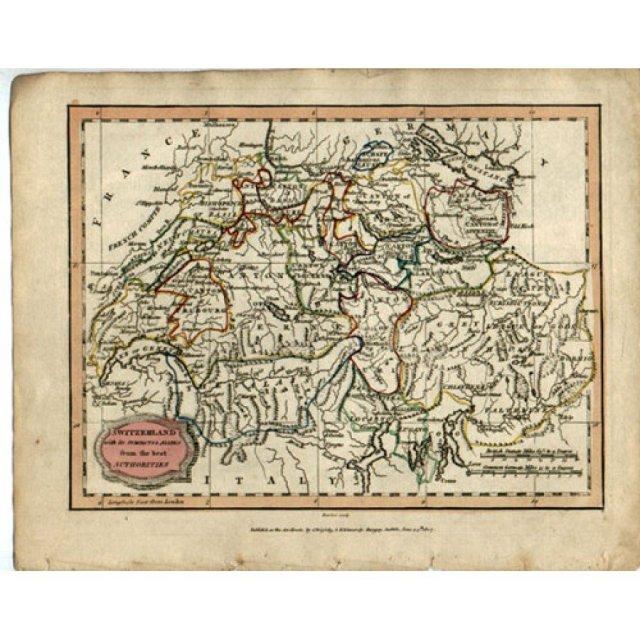 Antique Map Switzerland 1807