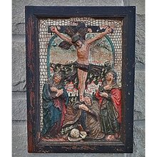Antique Medieval Terracotta Relief Crucifixion,  15th century