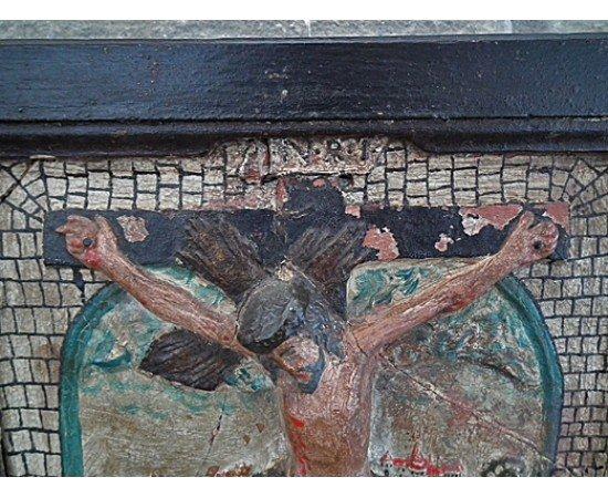 Antique Medieval Terracotta Relief Crucifixion,  15th century
