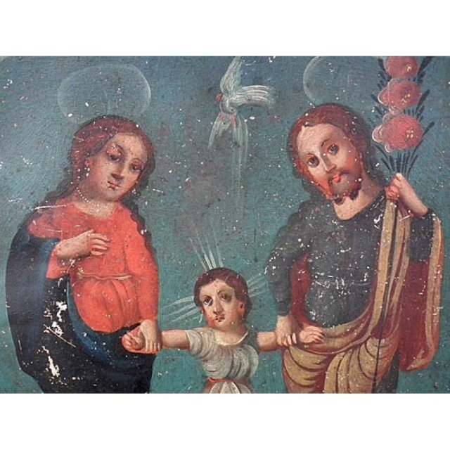 Antique Spanish Colonial Retablo Painting The Holy Family