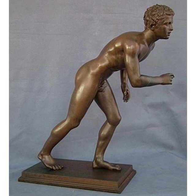 Antique Chiurazzi Bronze Sculpture Nude Male Athlete