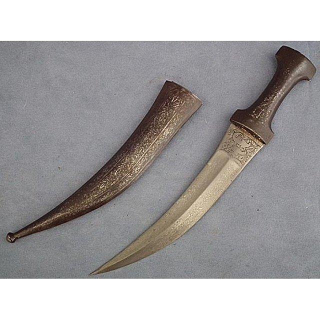 Antique Indo Persian Islamic Dagger Khanjar Jambiya Damascus Wootz