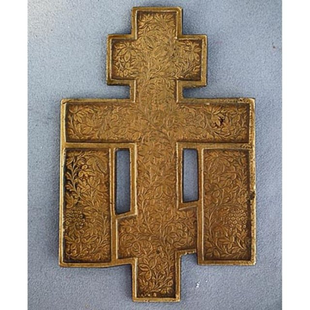 Antique 19th century Russian orthodox Brass and Enamel Cross