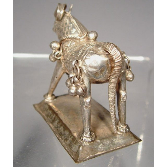 Antique Indian Silver Horse Of Shiva 18th - 19th c
