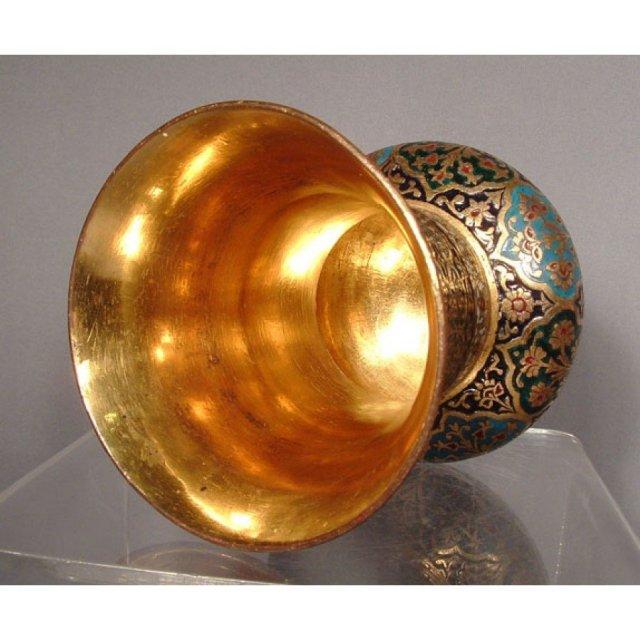 SOLD Antique Islamic Indian Mughal Enameled Gilt Copper Vase 18th c