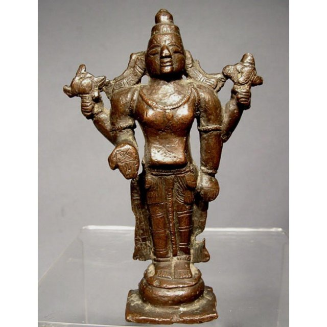 SOLD Indian Bronze figure of Vishnu 17th century