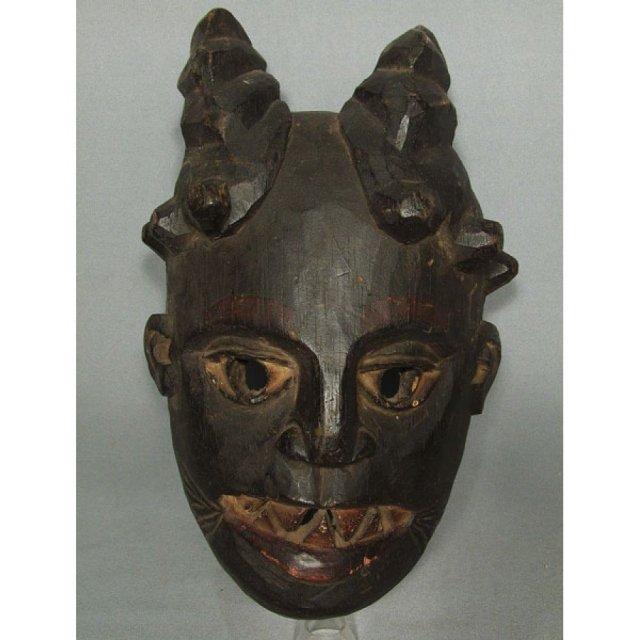 Antique African Horned Wooden Mask