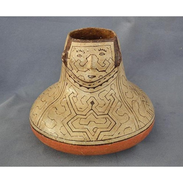 SOLD Peruvian Amazon Indian Shipibo Culture Pottery Effigy Vessel