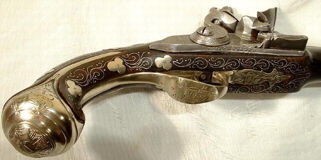 Antique Turkish Ottoman Pistol Gun, 18th cen