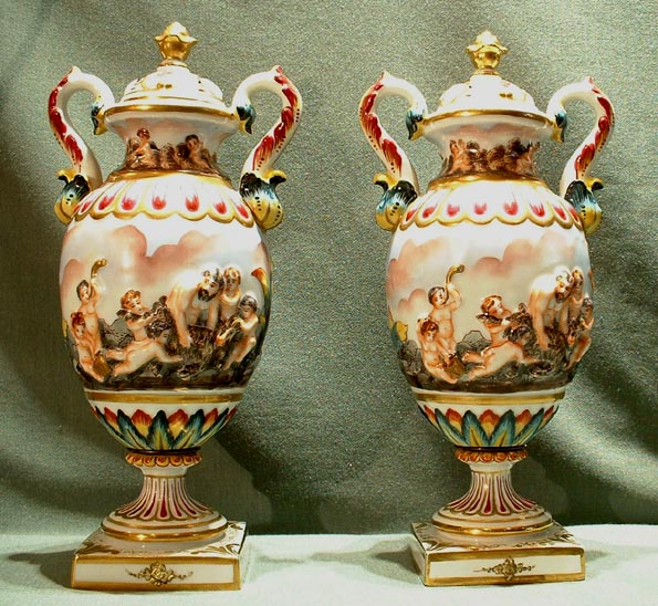 Antique Pair Capo-di-Monte Vases, 19th century